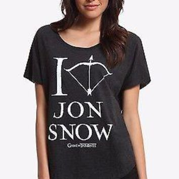 Game Of Thrones I HEART JON SNOW T-Shirt Womens Dolman Black NWT Licensed