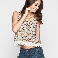 Mine Daisy Print Womens Crochet Trim Tank Black Combo  In Sizes