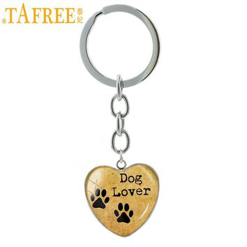 TAFREE Dog Lover Hand Crafted heart Pendant key chain ring My Friend Pet Dog Paw Prints keychain cute dog keyring jewelry HP99
