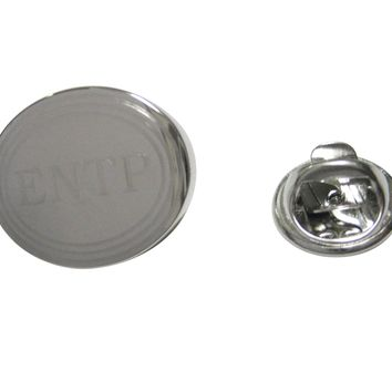 Silver Toned Etched Oval Myers Briggs ENTP Lapel Pin