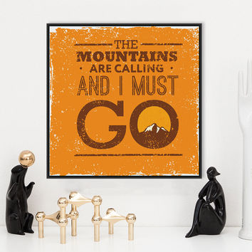Vintage Retro Motivational Typography Mountain Life Quotes A4 Art Print Poster Wall Picture Canvas Painting No Framed Home Decor