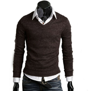 Mens Casual Fitted V-Neck Sweater