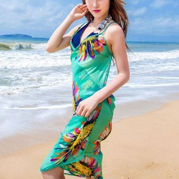 DCCK7N3 Women's Swimming Suit Bright Color Chiffon Spring Summer Beach Bikini Cover Up Printed Women Cape for a Swimsuit Swimwear Women