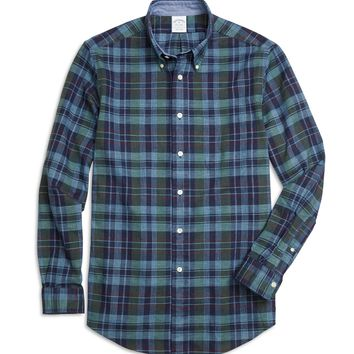 Men's Slim Fit Navy Blue Plaid Sport Shirt | Brooks Brothers