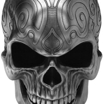 Ornamental dirty silver - death metal skull front view - Airbrush stencil