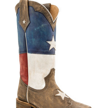 Roper Mens American Flags Boots Star Boot Sq Toe All Brown Vamp