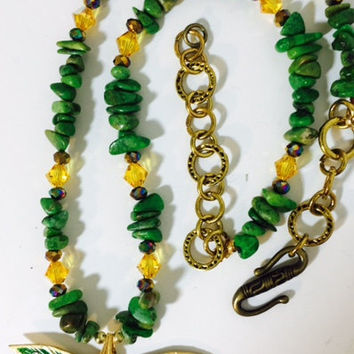 Dragonfly, Painted  in Green and Gold Necklace