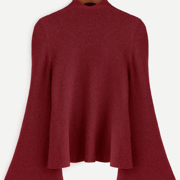 Burgundy Mock Neck Bell Sleeve Sweater