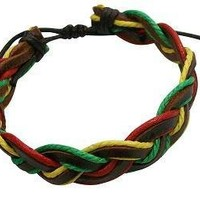Rasta Style Semi-Adjustable Leather Braid Bracelet