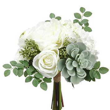 "Artificial White Peony & Green Succulent Bouquet - 12"" Tall"