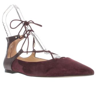 Sam Edelman Rosie Pointed Toe Lace Up Ballet Flats, Wine Suede, 6.5 US / 36.5 EU