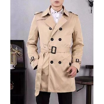 High Quality British Style Double Breasted Mens Long Trench Coat Brand Slim Fit Trench Adjustable Waistband Windbreaker Jacket