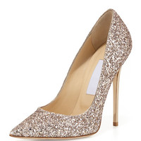 Abel Glitter Pointed-Toe Pump, Nude