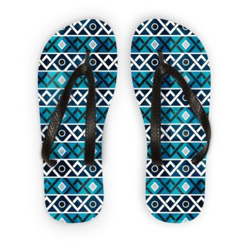Blue and Teal Diamond Pattern Flip Flops