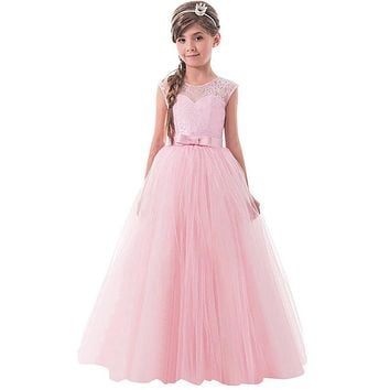 Teen Children Girls Sleeveless Princess Lace Pageant Long Gown Dress for Teenagers Girl Birthday Wedding Party Prom