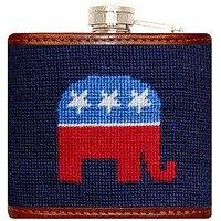 Republican Needlepoint Flask in Navy by Smathers & Branson