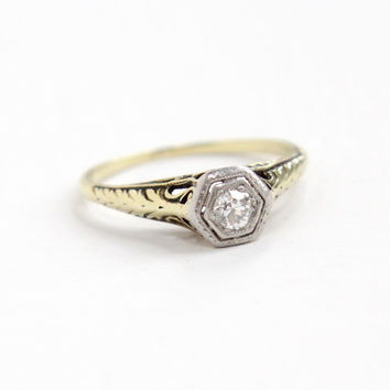Antique 14k Yellow Gold & Platinum Art Deco Diamond Ring - Size 7 1/2 Vintage Filigree 1920s 1930s Wedding Engagement Fine Jewelry