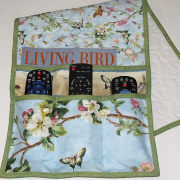 Quilted Armchair Caddy, Bedside Caddy, Butterflies and Dragonflies
