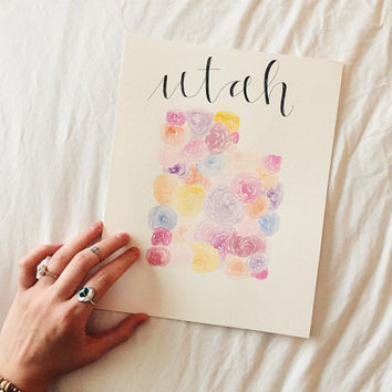 Handmade Watercolor Floral State Painting
