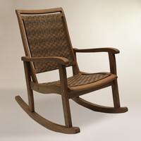 Brown All-Weather Wicker and Wood Galena Rocking Chair