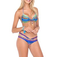 Luli Fama Tribal Beach - Molded Push-up Bandeau Halter Top