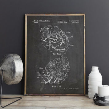 Heart Blueprint, Anatomical Decor, Anatomy Heart Decor, Medical Student Gift, Gift for The Surgeon, Human Heart Print, Art, INSTANT DOWNLOAD