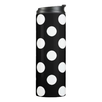 Black and White Polka Dot Pattern Thermal Tumbler