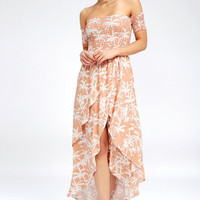 Barefoot Nude Tropical Print Off-the-Shoulder Midi Dress