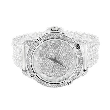Mens Iced Out Watch Bling Hip Hop Prong Set Band Analog Jojo