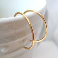 Tiny Gold Hoop Earrings, Modern Gold Hoops, Reverse 14KT Gold Filled Hoops