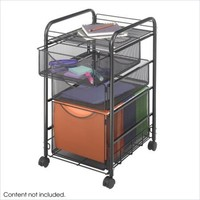 Safco SAF-GRD-5213BL Onyx Mesh File Cart With 1 File Drawer And 2 Small Drawers File Cabinets