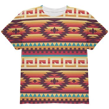 Red Native American Pattern All Over Youth T Shirt