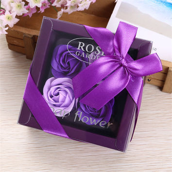 4Pcs/Box Colorful Heart-Shaped Rose Soap Flower Romantic Wedding Party Gift Handmade Petals Decor
