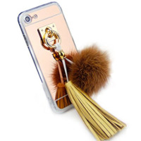 Cute Faux Fur Fluffy Ball Tassel with Mirror Back iPhone 6 Plus/6S Plus Phone Case
