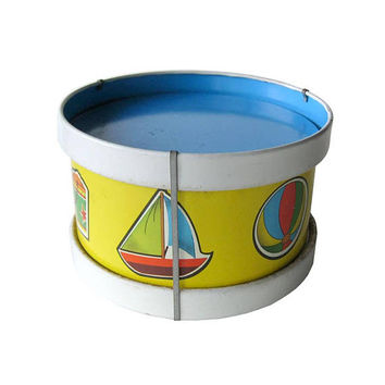 Ohio Art Toy Tin Drum - Vintage Toy Drum - Lithograph Toy - Musical Instrument - Percussion Instrument