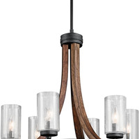 0-024336>Grand Bank 6-Light Chandelier Auburn Stained Finish