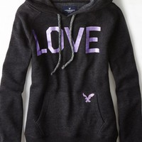 AEO 's Signature Graphic Hoodie (True Black)