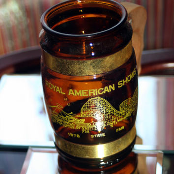 Royal American Shows 1978 Souvenir Mug Brown Glass with Wooden Handle & Brass Accent Barrel Style
