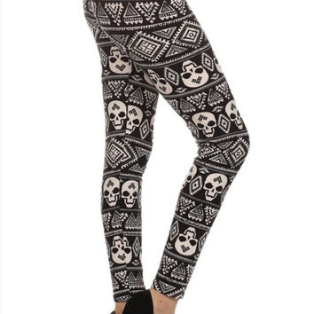 Tribal skull patterned leggings