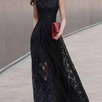 Black Plaid Print Organza Skater Maxi Dress