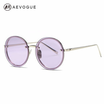 AEVOGUE Sunglasses Women Brand Designer Round Rimless Metal Temple Oversize Vintage Superstar Sun Glasses With Box AE0497