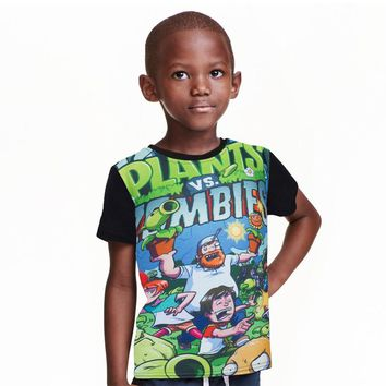 Children t shirts plants vs zombies boys clothing pvz cartoon game pattern boys clothes kids cotton O-Neck T-shirt summer tops