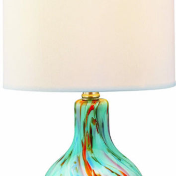 0-030680>Pepita Table Lamp Aqua Glass Body