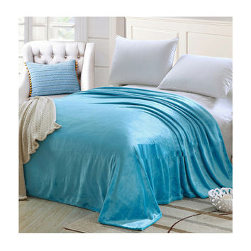 Plush Soft Queen Soild Color Micro fleece Bed Throw Blanket 180cm Blue