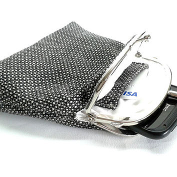 Double Coin Purse with cards slot - Kiss Lock Purse - Black and White - Double Pockets - Silver Frame