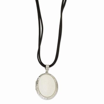 "Silver-tone Glass Pearl Oval Locket on 30"" Double Cord Necklace"""