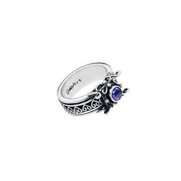 Art Nouveau Sterling Silver And Amethyst Spin Ring