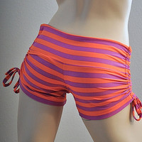 SALE Hot Yoga Shorts Orange and Purple Stripes Item 4433