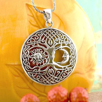 Celtic Tree of Life with Sun and Moon Necklace in Sterling Silver
