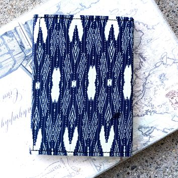Blue Ikat Fabric Handmade Leather Journal